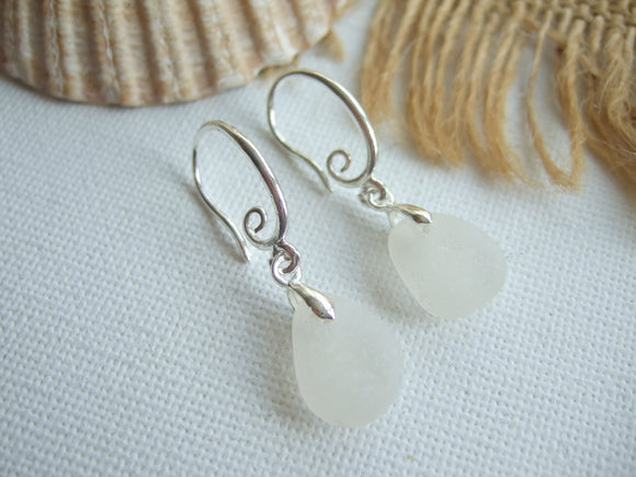 white scottish sea glass earrings swirly