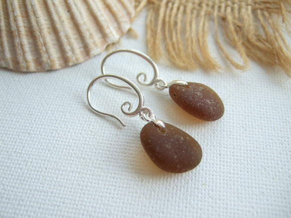 brown sea glass earrings swirl design