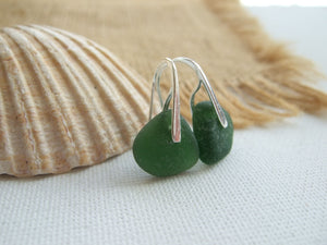 green sea glass earrings water drops