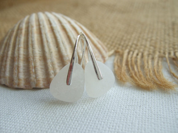 white sea glass earrings scottish