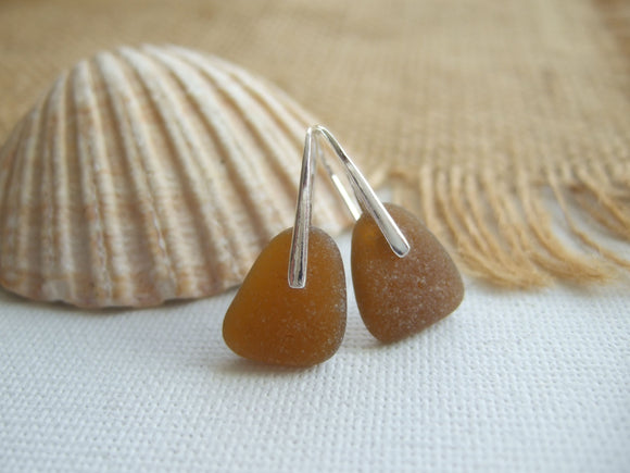brown scottish sea glass earrings
