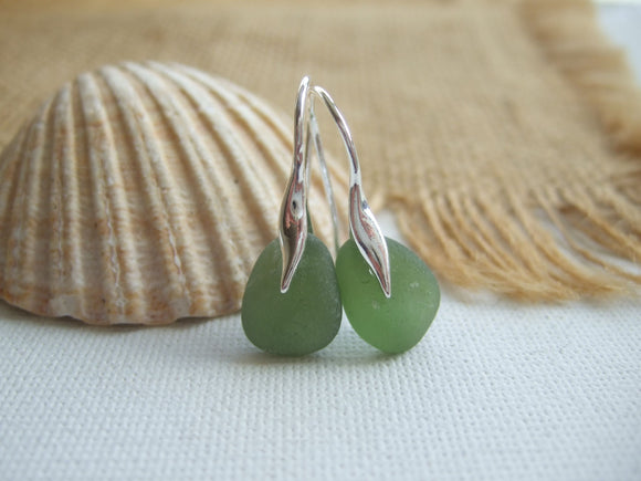 green sea glass earrings wave shape