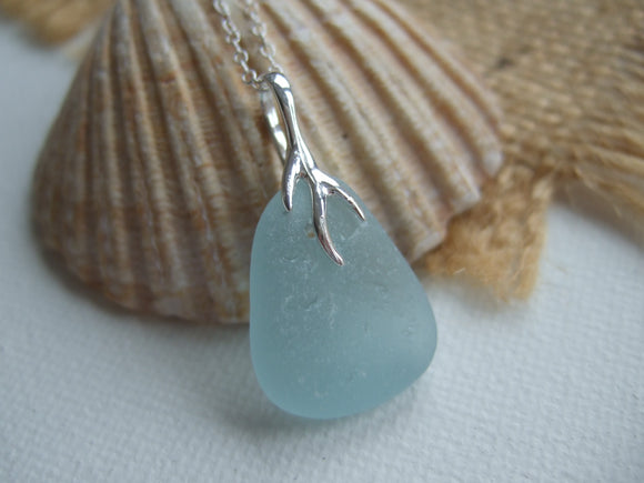 coral branch japan sea glass pendant