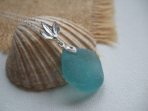 japanese aqua sea glass pendant