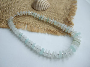 white and sea foam sea glass necklace
