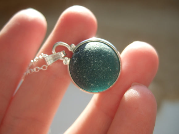 teal sea glass marble necklace japanese