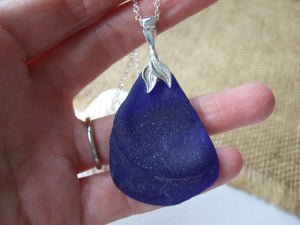XXL blue sea glass mermaid necklace