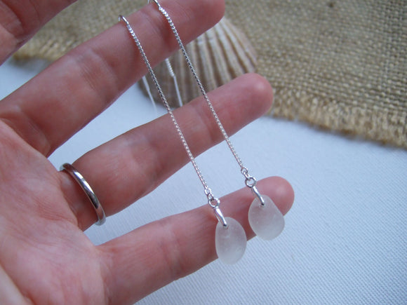 white sea glass threader earrings