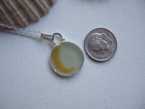 yellow milk sea glass earrings wave shaped