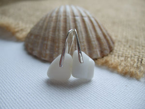 white milk sea glass earrings