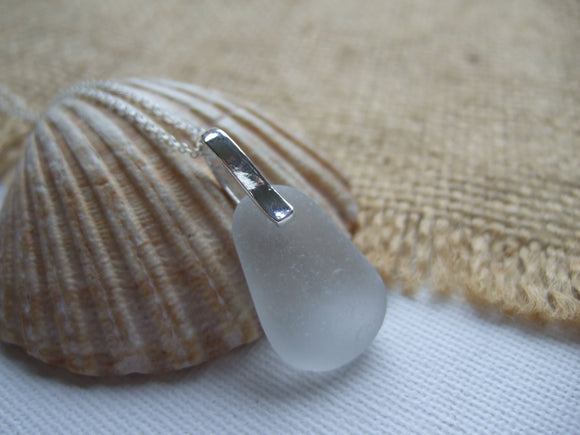 grey beach glass minimalist necklace