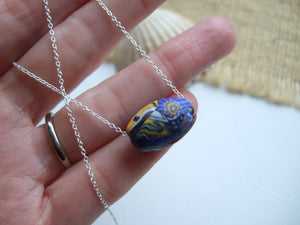 sea glass bead necklace millefiori