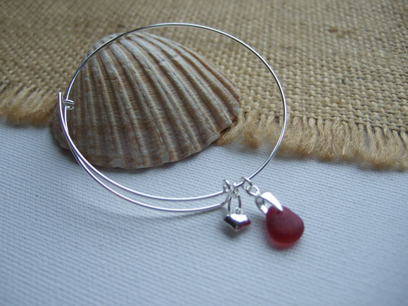 pink sea glass sterling silver bangle