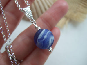 blue marble necklace sea glass