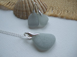 grey beach glass jewellery set