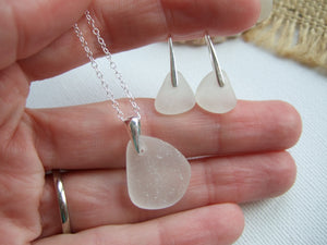 white sea glass jewelry set