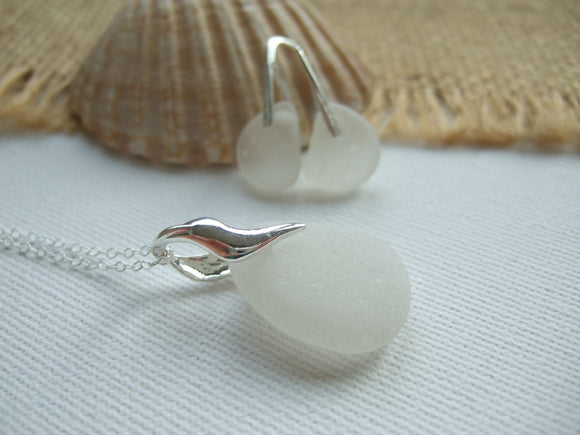 white jewellery set with sea glass from scotland