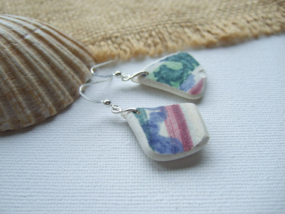 rainbow sea pottery earrings
