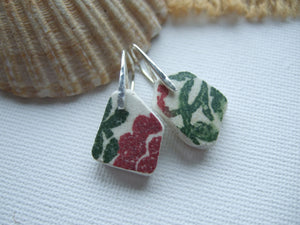 red green pattern sea pottery earrings