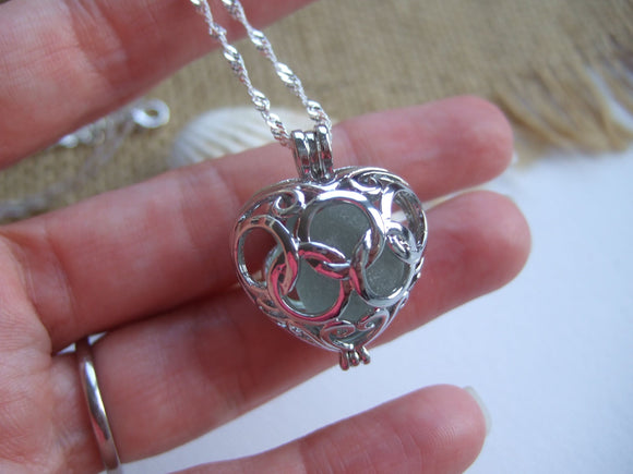sea glass marble heart locket