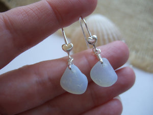 opalescent sea glass earrings with hearts