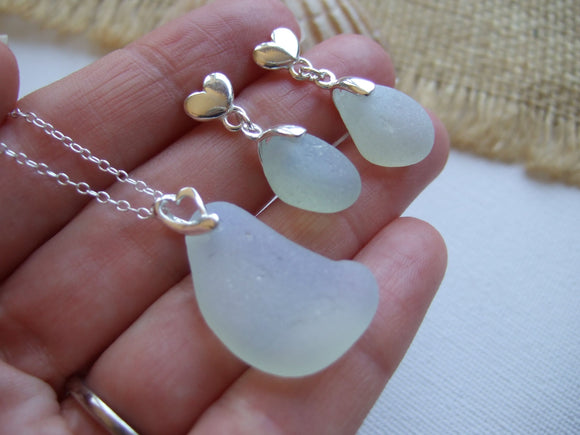 opalescent heart design jewelry set