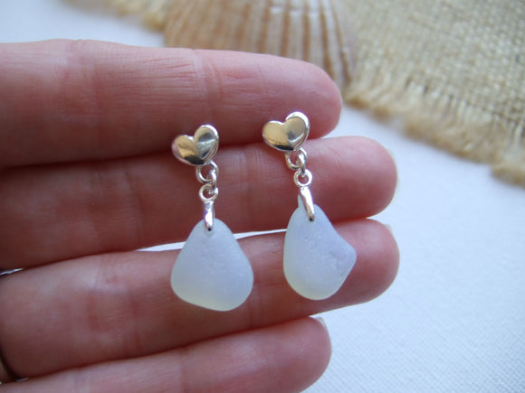 opalite sea glass studs with hearts