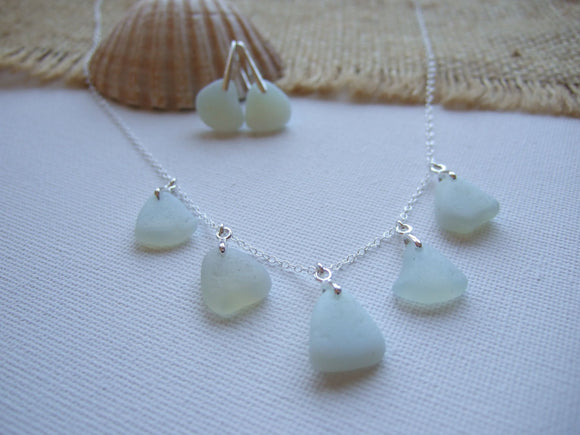 necklace and earrings set opalite sea glass