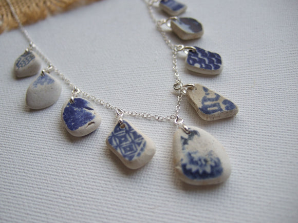 scottish sea pottery necklace with multiple pendants