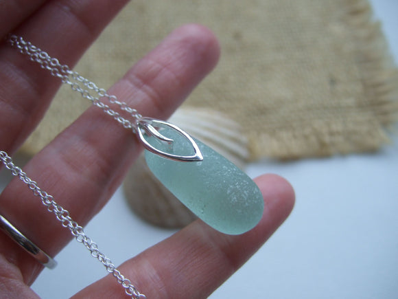 leaf design stopper stem sea glass necklace