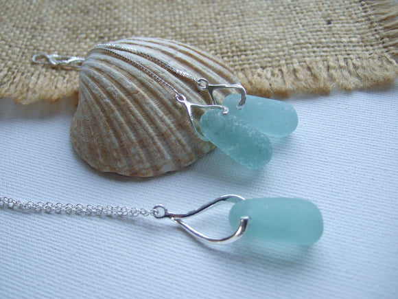 sea glass jewellery set stopper stems