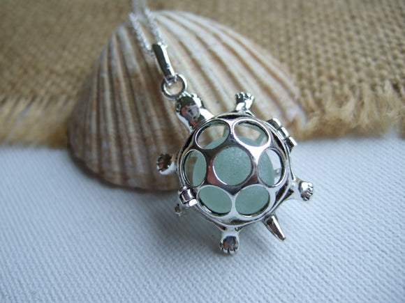 turtle necklace with sea glass marble