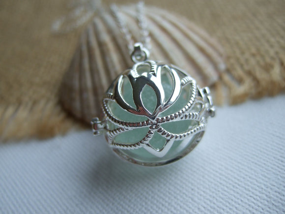 lotus locket with sea glass marble