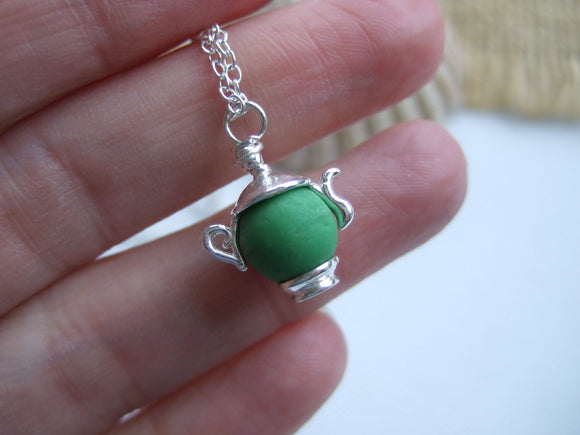 green sea glass bead necklace tea pot