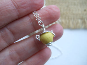 yellow sea glass bead coffee pot necklace