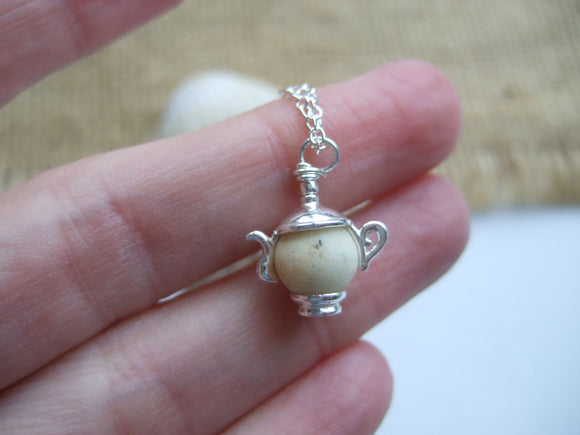 white sea glass bead teapot pendant