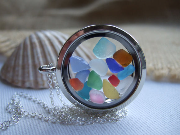 rainbow sea glass memory locket
