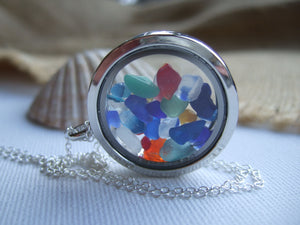 rainbow locket with sea glass tinies