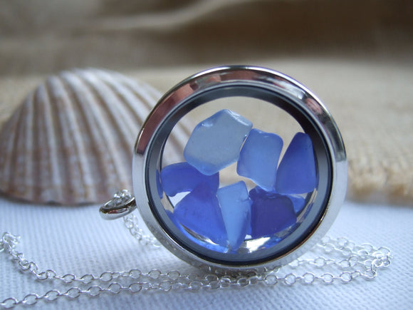 blue sea glass memory locket