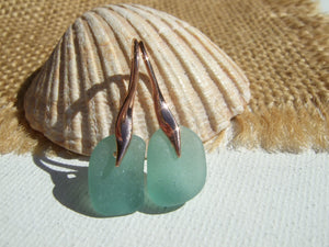 rose gold and aqua sea glass earrings