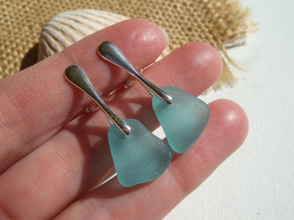 turquoise sea glass clip on earrings