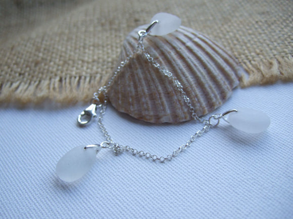 triple pendant white sea glass bracelet
