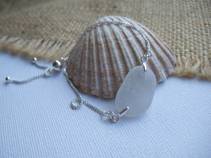 white sea glass adjustable bracelet