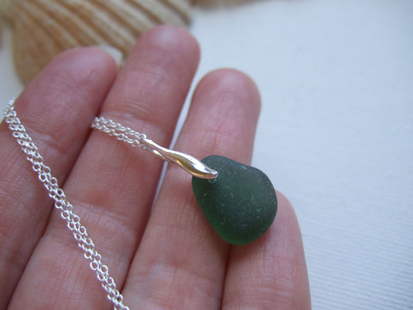green mini beach glass sea necklace