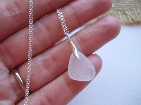 white mini sea glass necklace