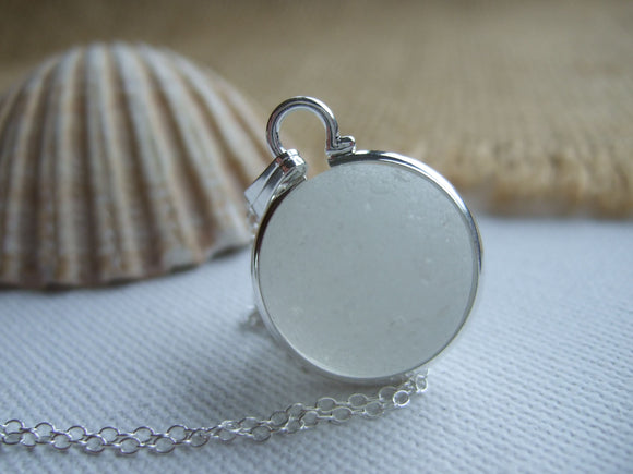 white sea glass marble necklace