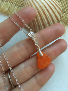 Bright Orange Bonfire Crackle Sea Glass Pendant, Floral Sterling Silver Setting - ULTRA RARE