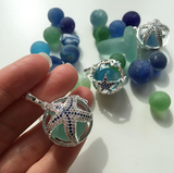Sea Glass Marble Locket - Star Fish & Blue Cat's Eye