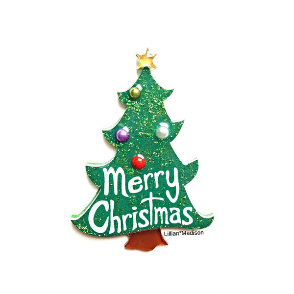 Merry Christmas Tree Brooch