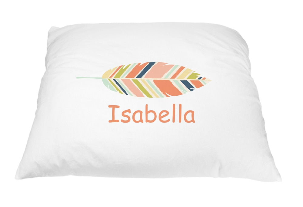 Colorful Feather Pillow Case